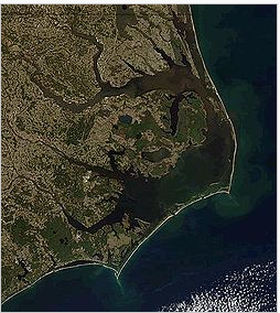 Bird's eye view of Outer Banks, NC